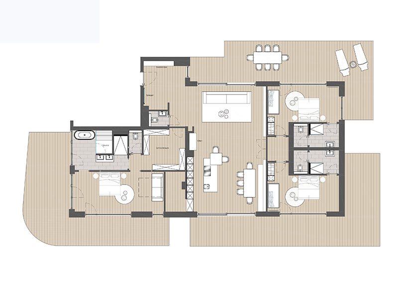 Penthouse Deluxe for 6-10 persons approx. 220 sqm
